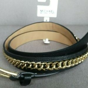 MICHAEL Michael Kors Accessories - Michael Kors Luxe leather Gold Chain Belt Large